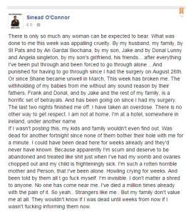 """Paura per Sinead O'Connor: sul suo profilo Facebook ufficiale ha postato quello che e' sembrato essere un ultimo messaggio prima del suicidio, annunciando di aver assunto un'overdose di stupefacenti. Ma le autorita' irlandesi, dopo circa un'ora di giallo, hanno rassicurato che l'artista e' """"sana e salva"""" e sta ricevendo le cure mediche del caso. PROFILO FACEBOOK DI SINEAD O'CONNOR +++ATTENZIONE LA FOTO NON PUO? ESSERE PUBBLICATA O RIPRODOTTA SENZA L?AUTORIZZAZIONE DELLA FONTE DI ORIGINE CUI SI RINVIA+++"""
