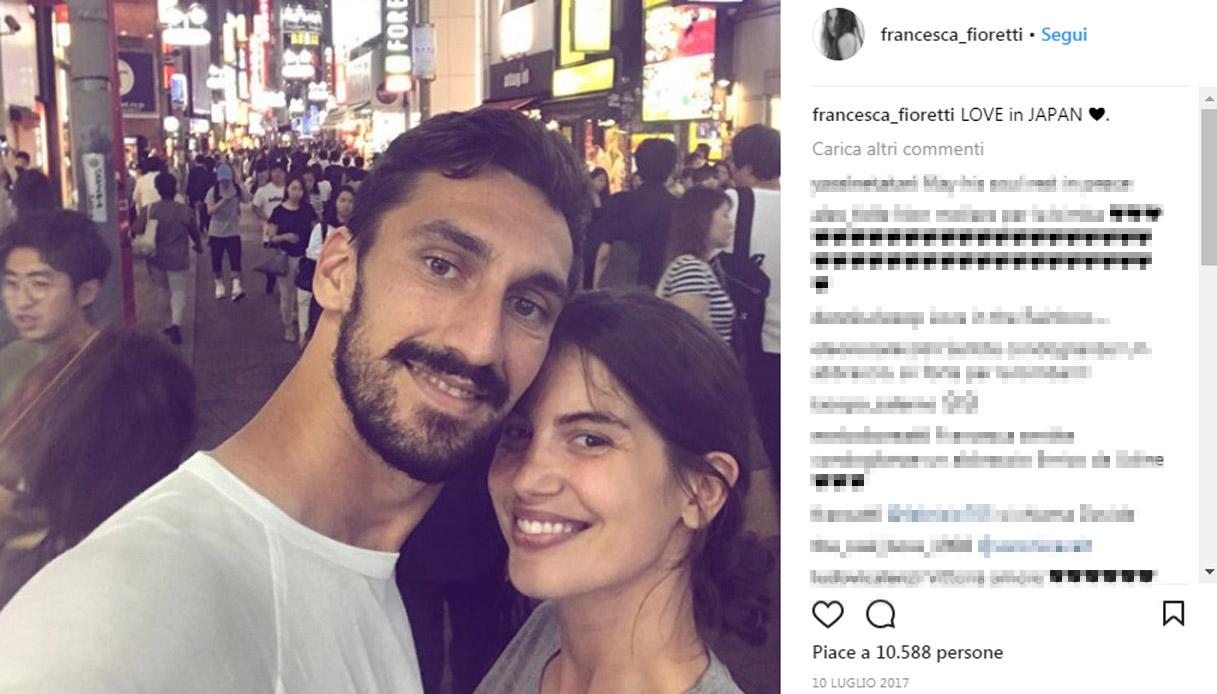 Morte Davide Astori, il loro amore raccontato su Instagram dalla compagna Francesca Fioretti