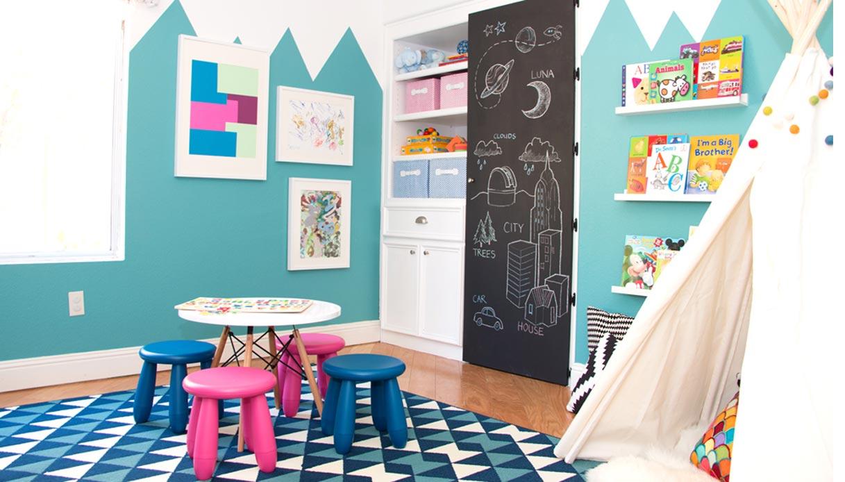 camera bambini azzurra