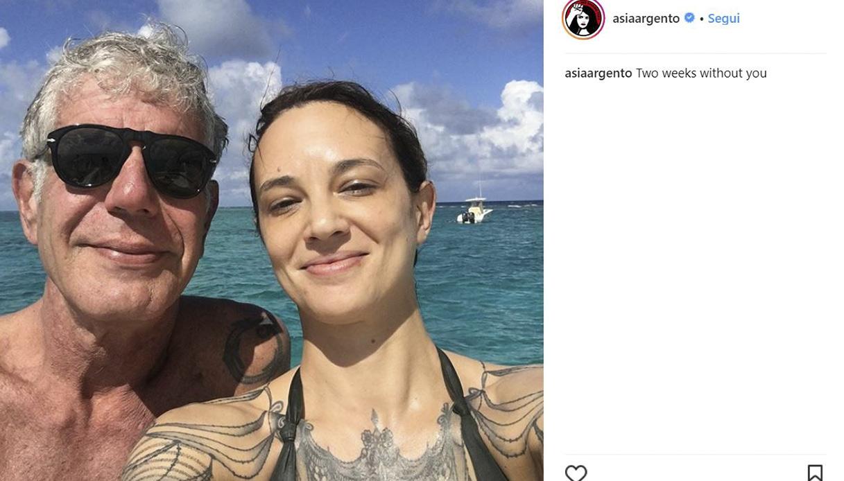 Asia Argento e il dolore per Anthony Bourdain
