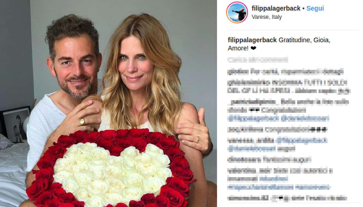 Daniele Bossari e Filippa Lagerback la foto del giorno dopo le nozze