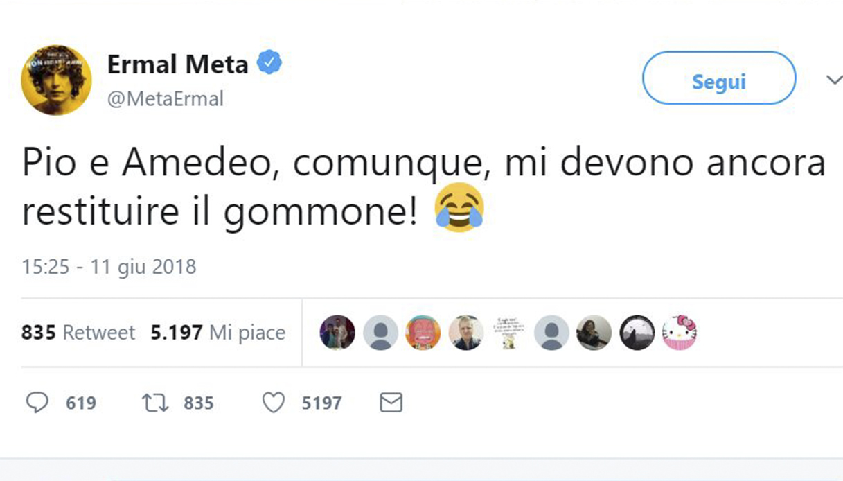 Ermal Meta risponde su Twitter a Pio e Amedeo