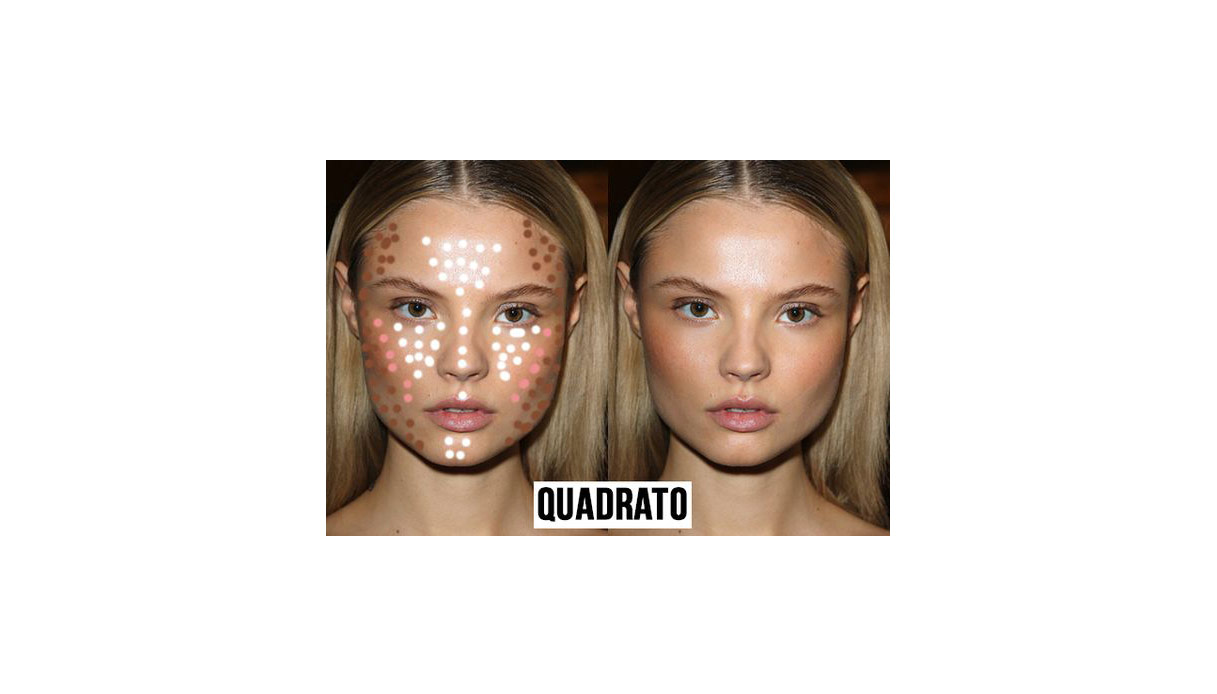 Come definire il viso basandosi sulla sua forma con il contouring: viso quadrato