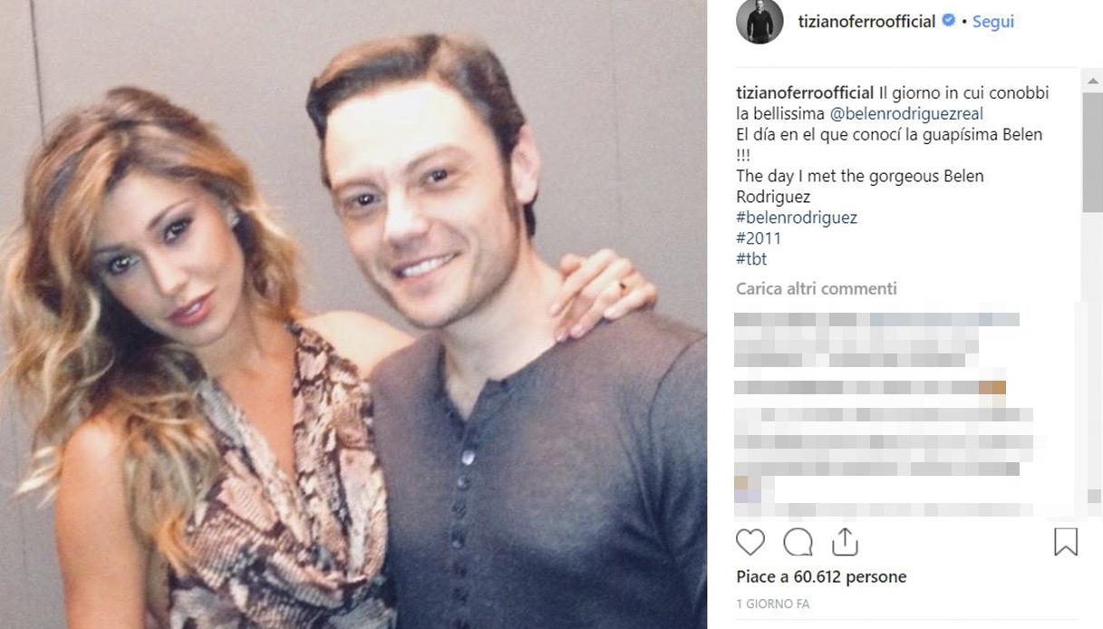 Tiziano Ferro e Belen Rodriguez Instagram