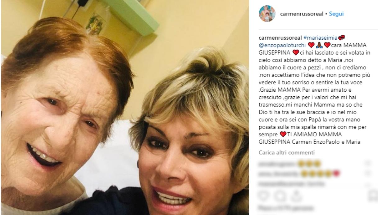 Lutto per Carmen Russo: è morta la mamma Giuseppina