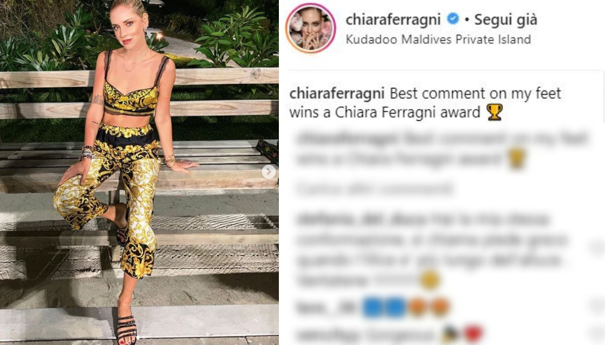 Chiara Ferragni commenti sui piedi