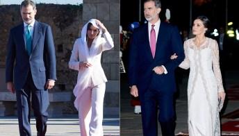Letizia di Spagna in bianco: abito regale e tailleur di Armani riciclato
