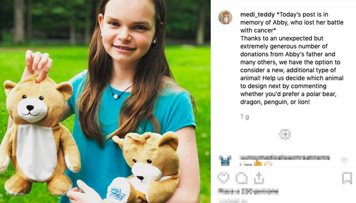 Una ragazzina inventa l'orsacchiotto per coprire le flebo