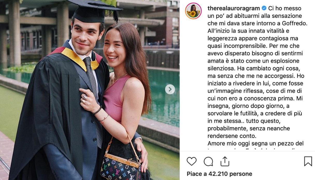 Aurora ramazzotti, dedica al fidanzato