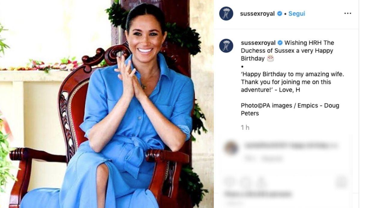 Il post per il compleanno di Meghan
