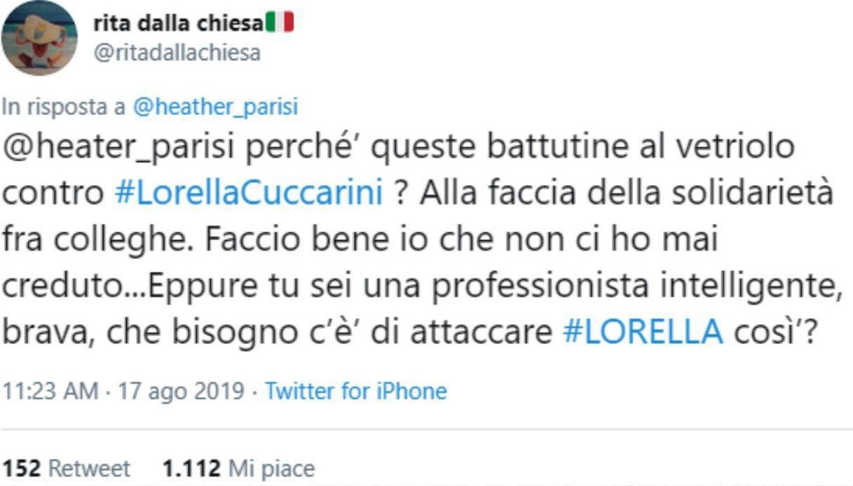 Tweet Rita Dalla Chiesa