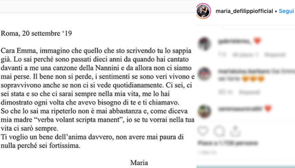 Maria De Filippi post per Emma Marrone Instagram