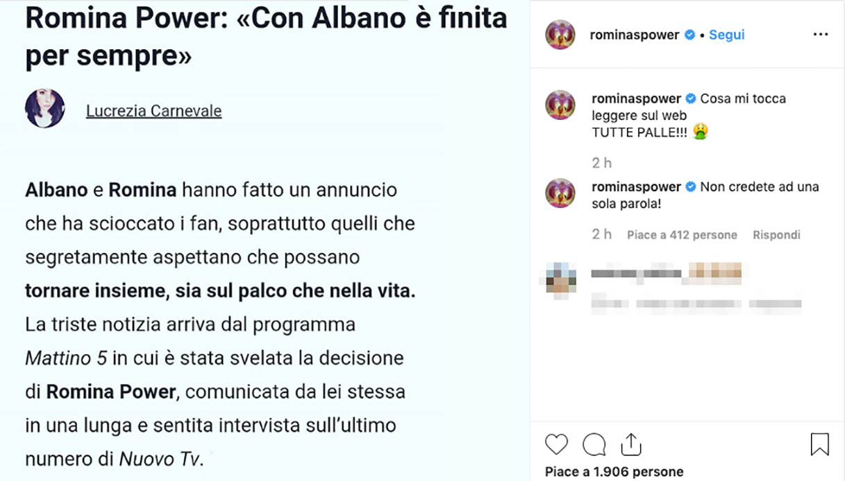 Il post di Romina Power Instagram