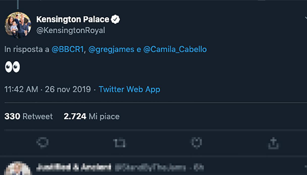tweet di risposta di William e Kate