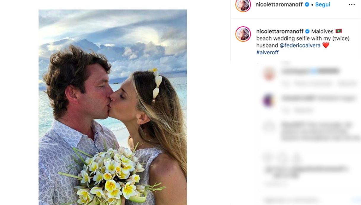 Nicoletta Romanoff e Federico Alverà Instagram