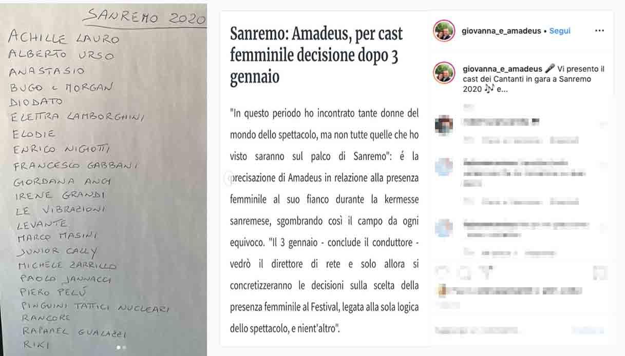 Sanremo, Amadeus annuncia il cast ufficiale dell'edizione 2020 e fa una rivelazione sulle vallette