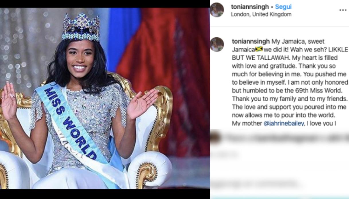 Toni-Ann Singh Miss Mondo 2019 Miss Giamaica
