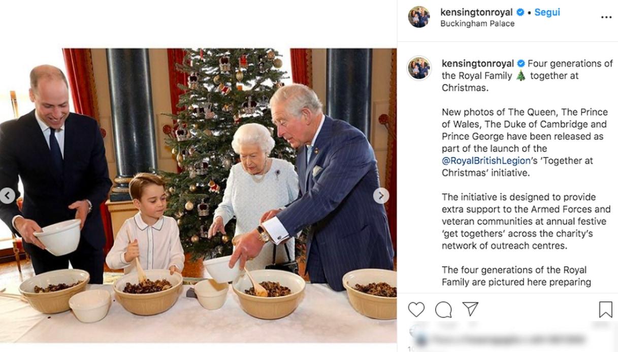 William e George con la Regina Elisabetta Instagram