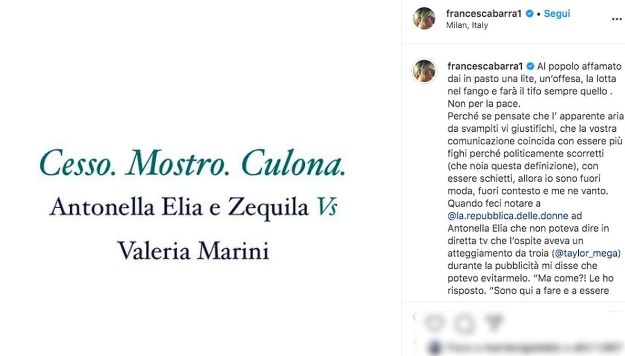 Il post di Francesca Barra su Instagram