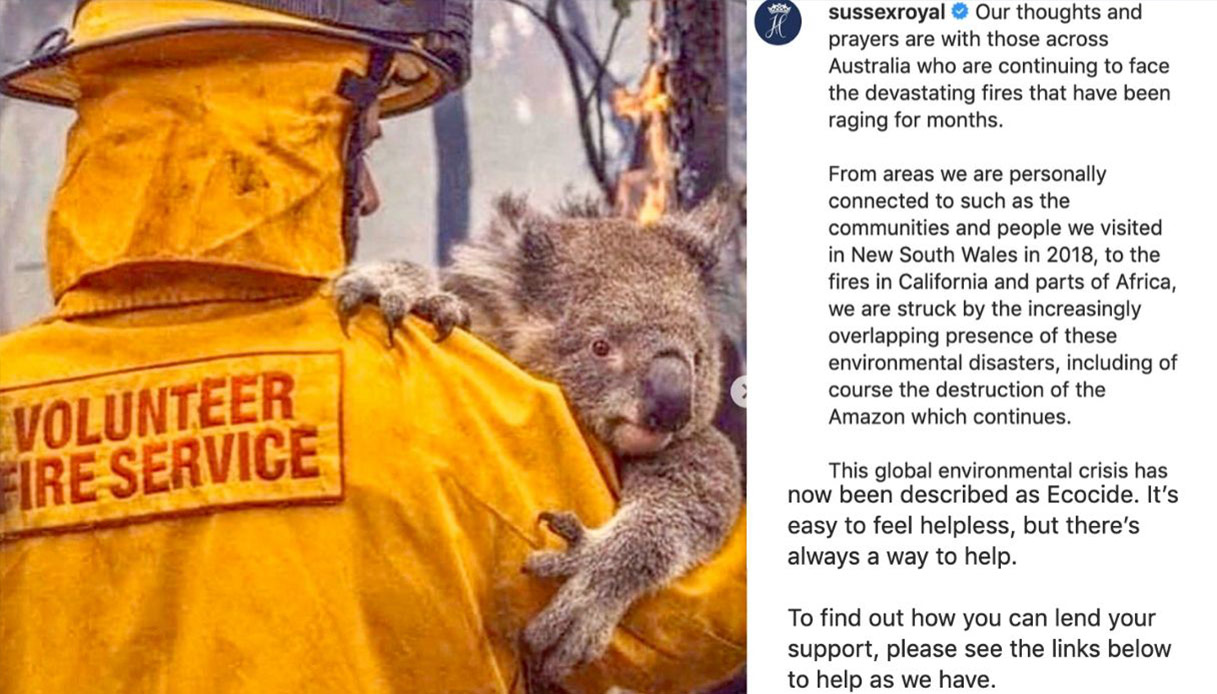 Meghan Markle, il post Instagram di supporto alle vittime degli incendi in Australia