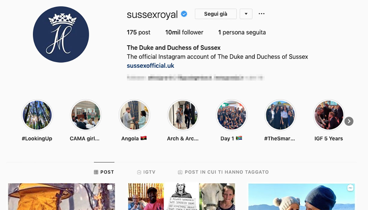 Profilo instagram di Harry e Meghan