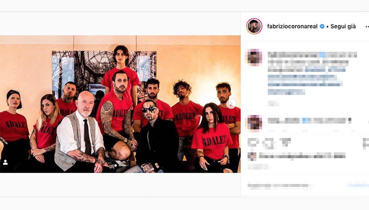 Post Instagram di Fabrizio Corona