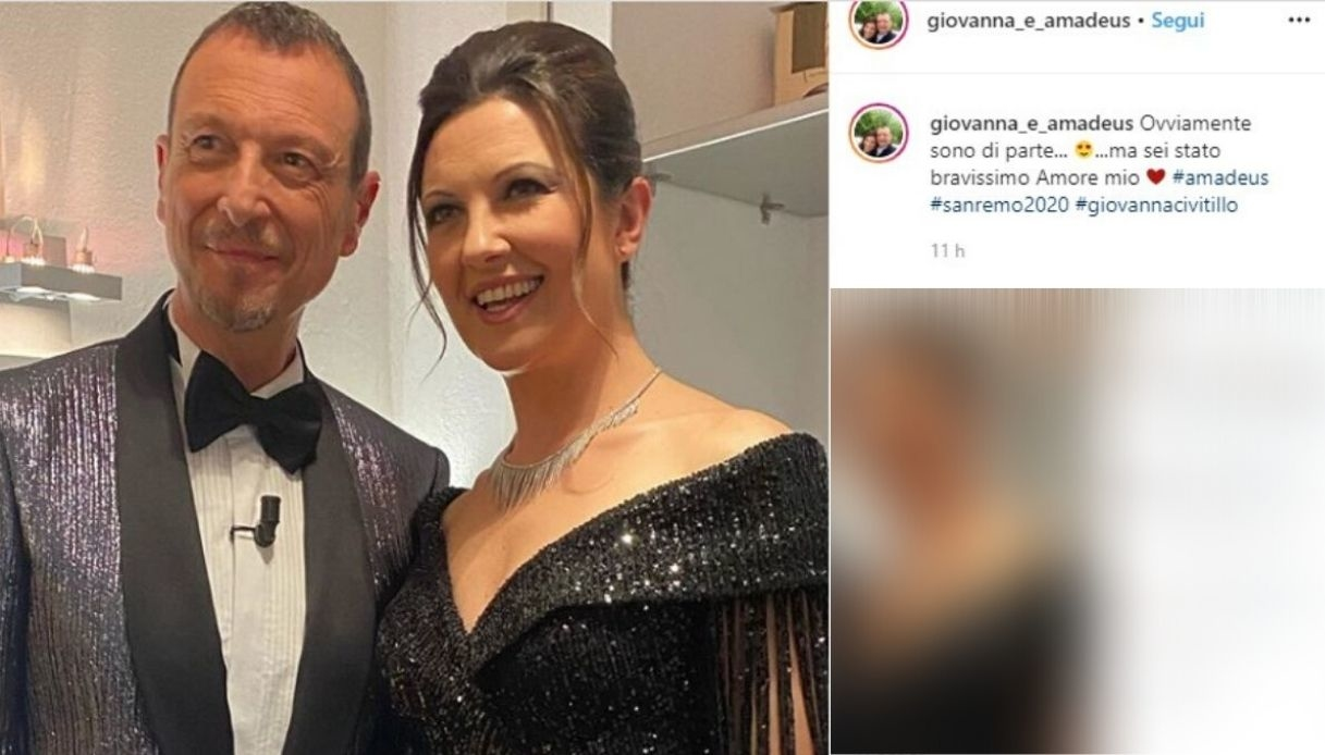 Giovanna Civitillo, la dolce dedica ad Amadeus su Instagram