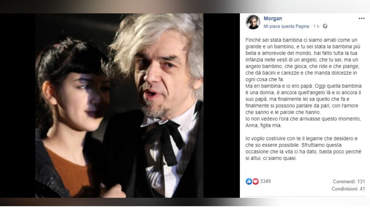 Il post di Morgan Facebook