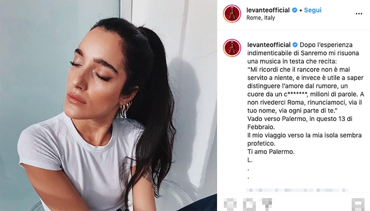 Levante, post su Instagram