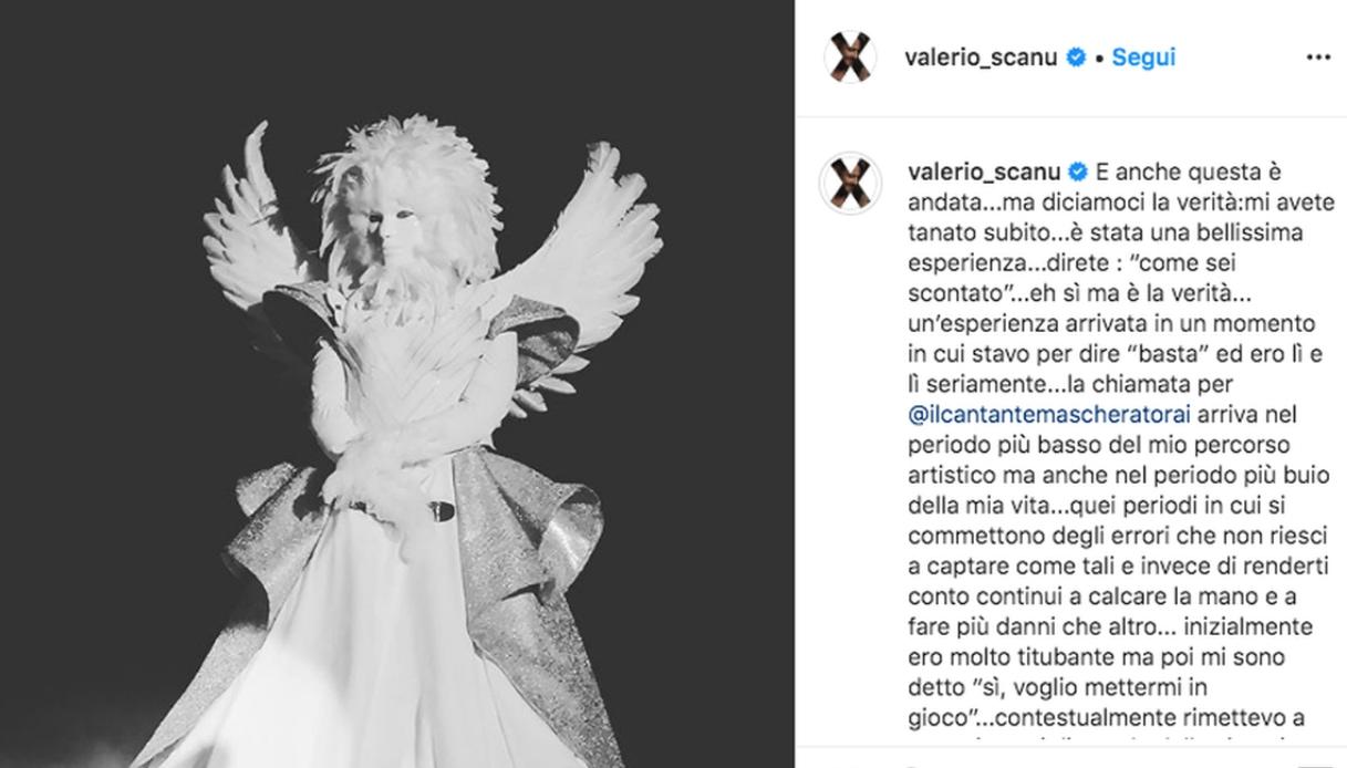 Valerio Scanu a Il Cantante Mascherato Instagram