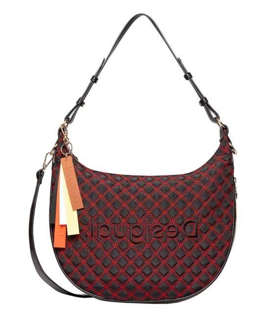 Desigual - borsa ricamo quadrettatura diagonale - prezzo 79,95 euro - ( credits foto : Desigual)