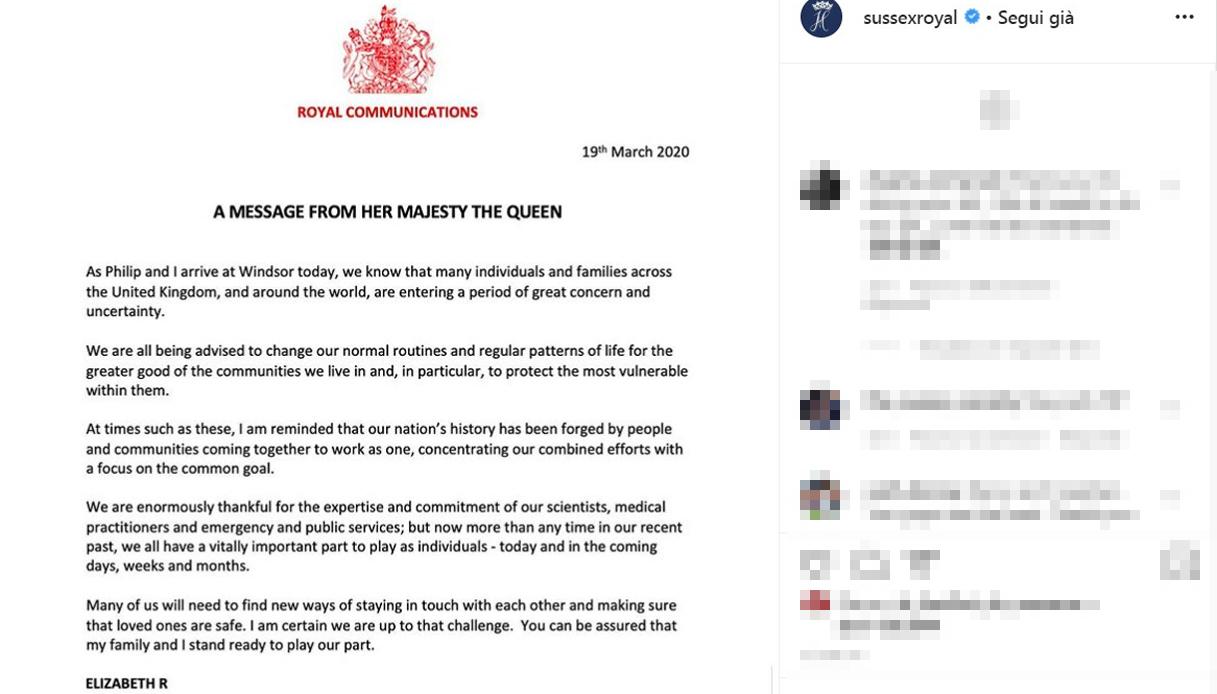 Messaggio Regina Elisabetta