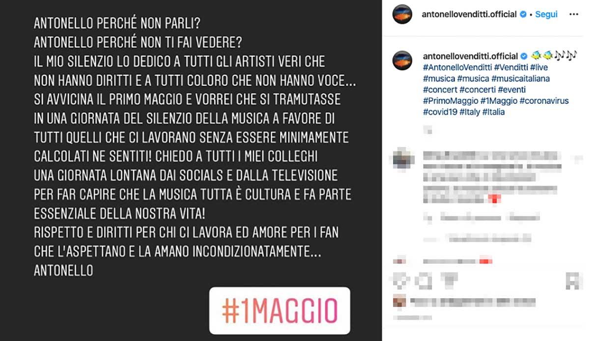 Il post di Antonello Venditti su Instagram