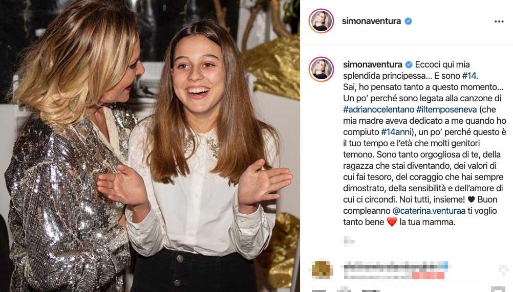Gli auguri di Simona Ventura alla figlia Caterina