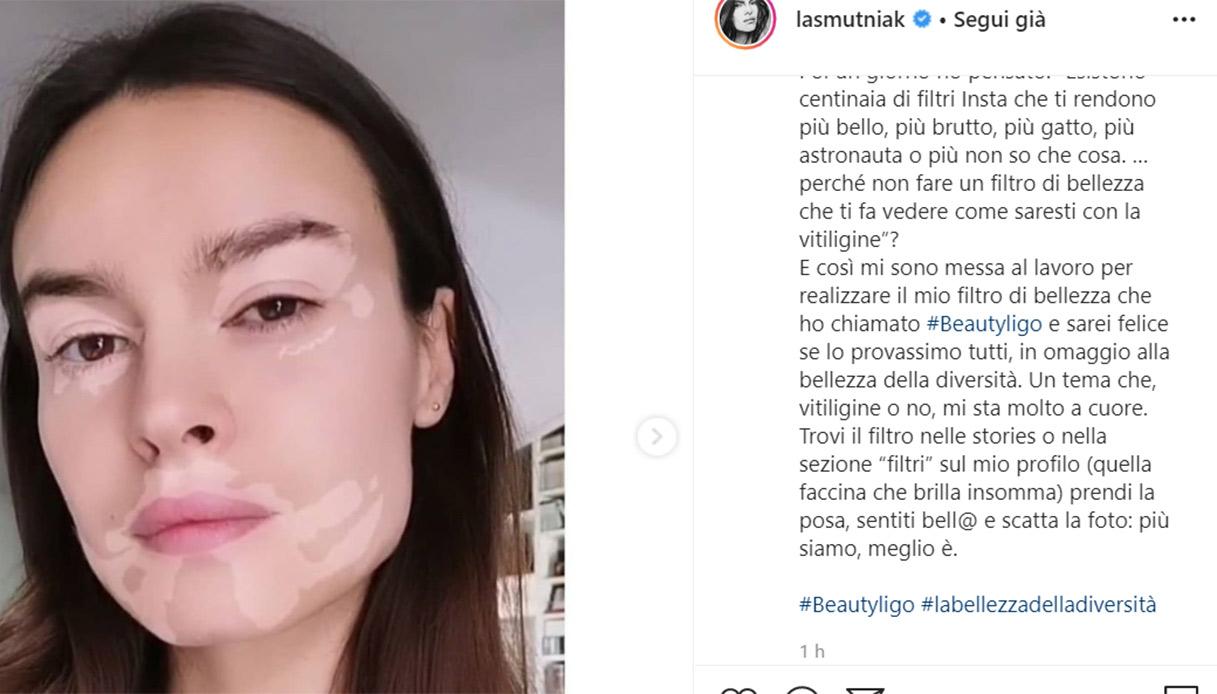 Kasia Smutniak lancia #Beautyligo, filtro IG che simula la v