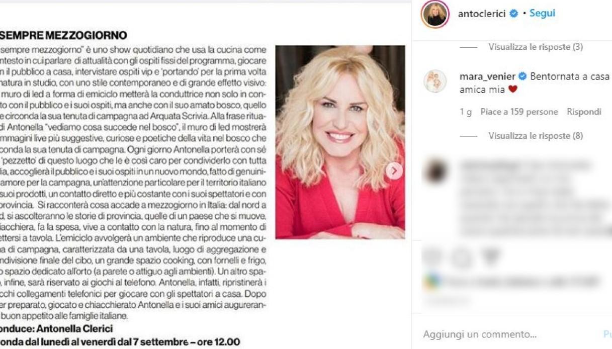 Il gesto di Mara Venier per il ritorno in RAI della Clerici