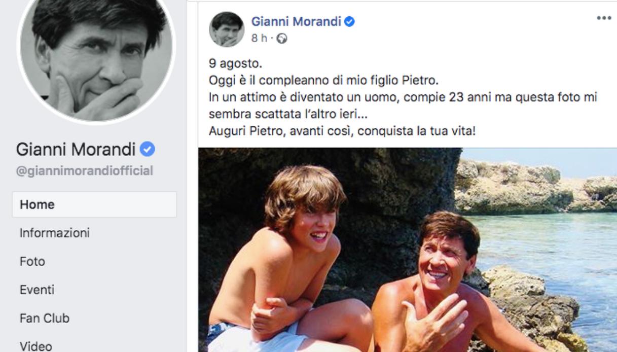 Gianni Morandi e il figlio Pietro