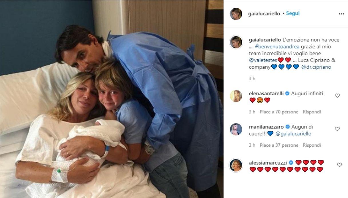 Simone Inzaghi e Gaia Lucariello genitori: è nato Andrea. Gli auguri della Marcuzzi