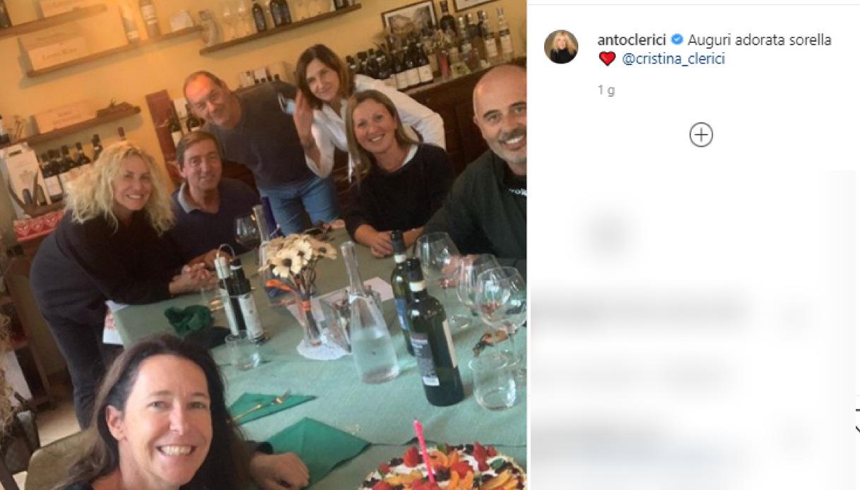 Antonella Clerici al compleanno della sorella Cristina