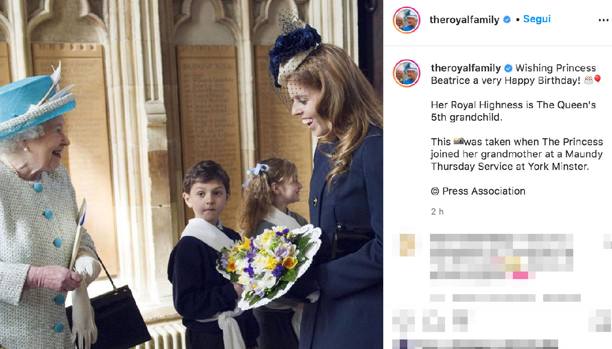 Gli auguri di Elisabetta a Beatrice di York