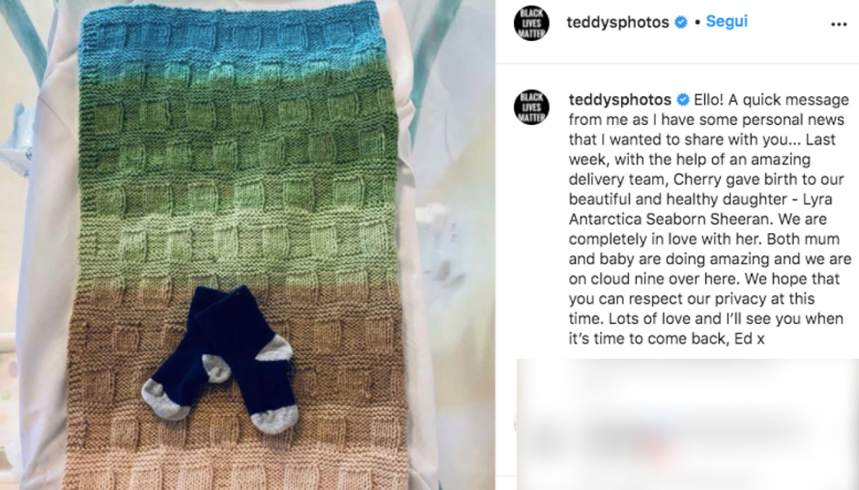 Ed Sheeran papà Instagram