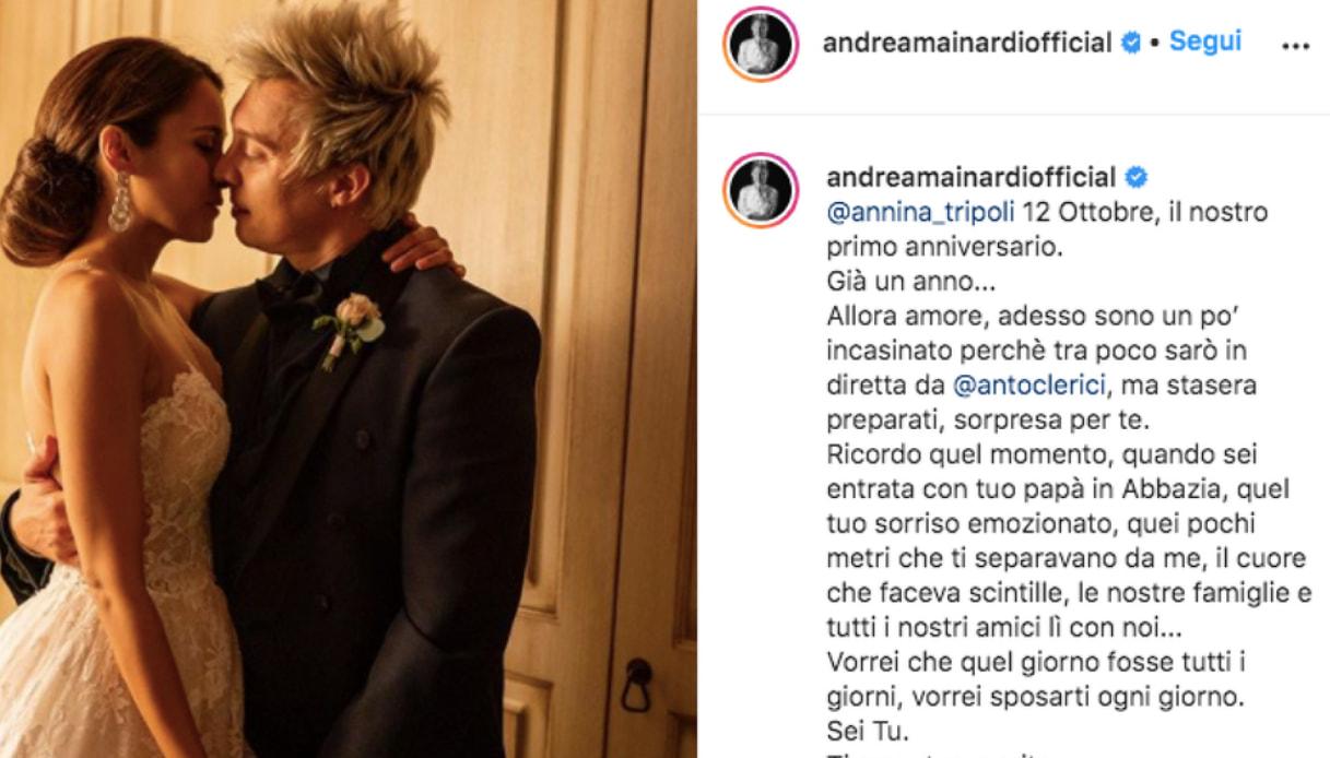 Andrea Mainardi, il tenero messaggio ad Anna Tripoli