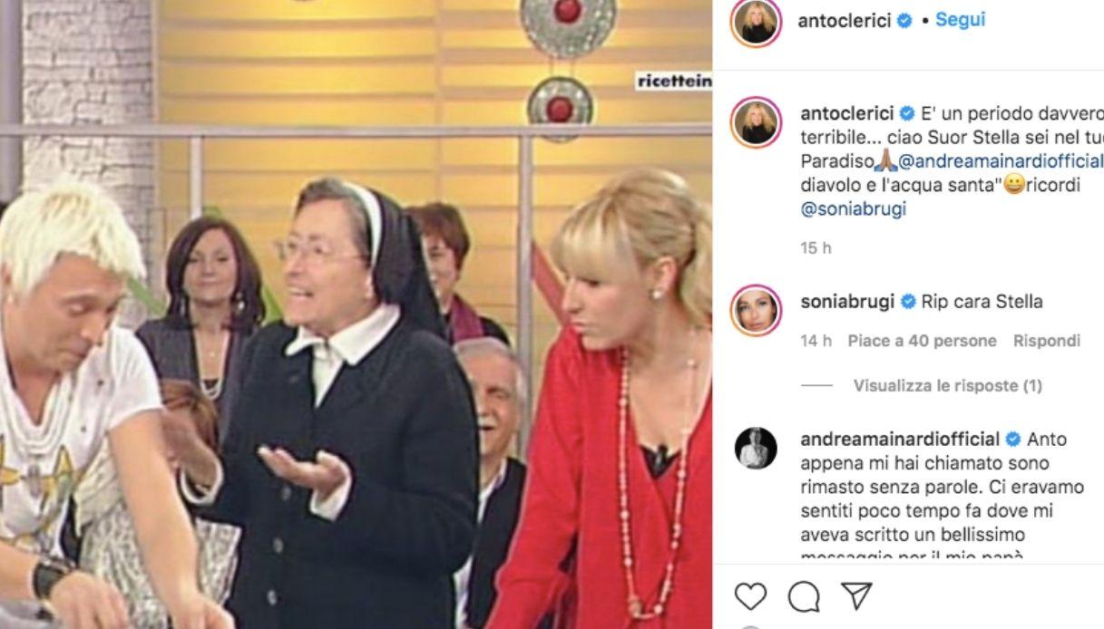 Il post di Antonella Clerici per Suor Stella