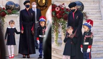 Charlene di Monaco alla Festa nazionale: il maxi cappotto superlativo e i gemelli birichini