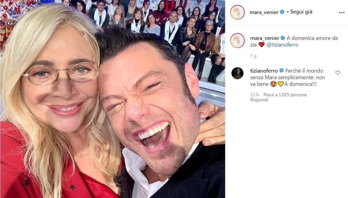 Mara Venier su Instagram con Tiziano Ferro