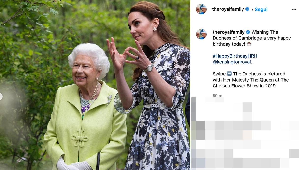 Gli auguri della Regina per Kate Middleton