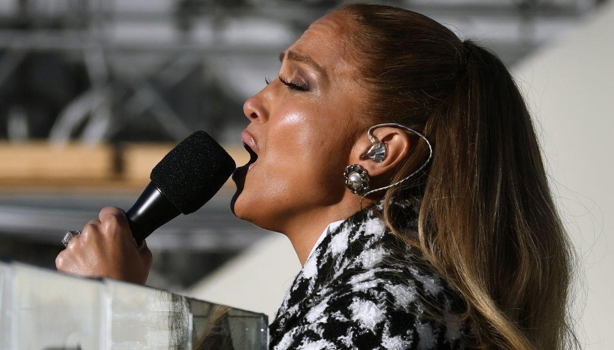 Jennifer Lopez durante le prove