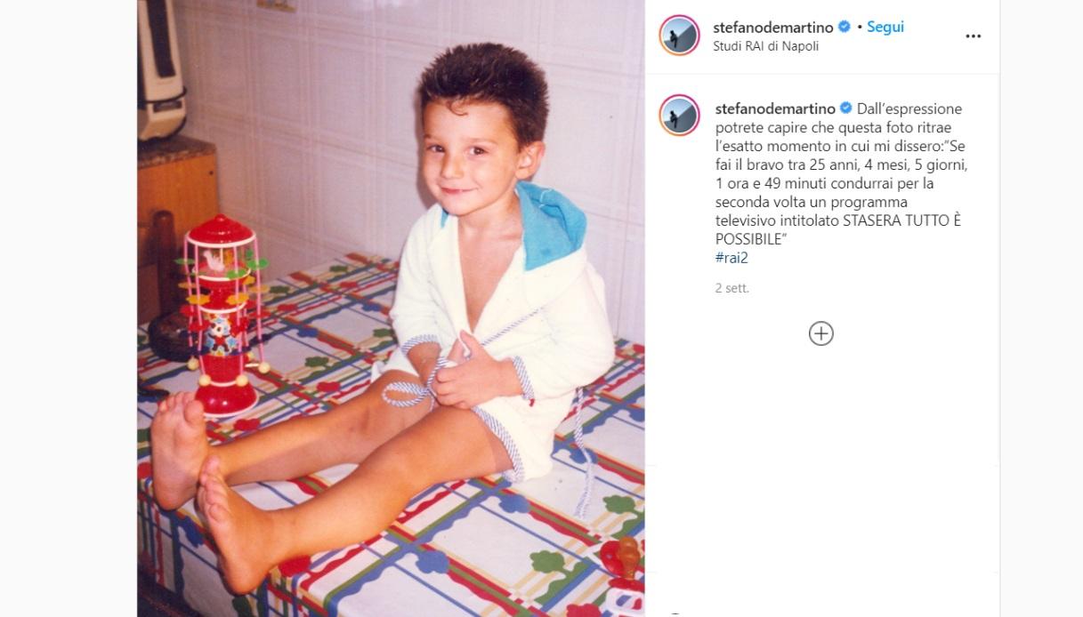 Stefano De Martino la foto da piccolo su Instagram