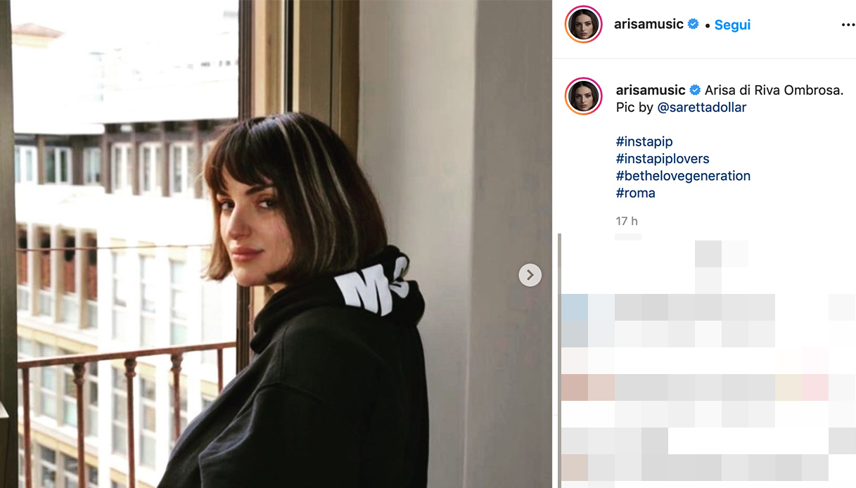 Il post su Instagram di Arisa