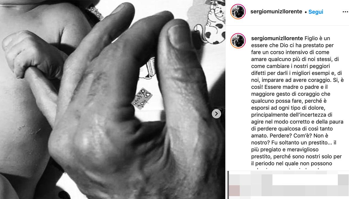Sergio Muniz, il post su Instagram